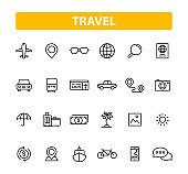 Set of 24 Travel web icons in line style. Transport, Luggage, food, navigation, holiday. Vector illustration.