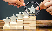 Critic puts the fifth star. The concept of the rating of hotels and restaurants. The evaluation of visitors. Quality level, good service. Best customer rating. Feedback. Satisfaction