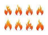 Set of Fire flames icons. Fire silhouette. Vector illustration.