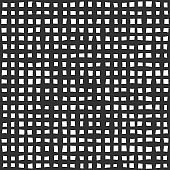 Fabric seamless pattern with textile mesh texture, black on white background. Simple wallpaper doodle grid, grunge canvas backdrop, monochrome design element