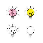 Set of Light bulb with brain icons. Creativity, creative idea. Vector illustration.