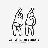 Senior exercise flat line icon. Old people stretch vector illustration. Thin sign of elderly couple doing sport together