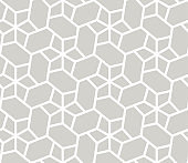 Abstract simple geometric vector seamless pattern with white line texture on grey background. Light gray modern wallpaper, bright tile backdrop, monochrome graphic element