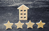 Wooden house and four stars on a gray background. Rating of houses and private property. Buying and selling, renting apartments. The level of the restaurant and hotels. Rating four stars.