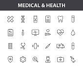 Set of 24 Medical and Health web icons in line style. Medicine and Health Care, RX, infographic. Vector illustration.