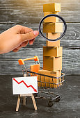 Magnifying glass is looking at the supermarket cart loaded with lots of boxes and a red down arrow. concept of sales drop, decrease of consumer ability and the welfare of society, consumer recession