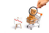 Magnifying glass is looking at the supermarket cart with boxes and a graph with red arrow down, merchandise. concept of buying and selling goods and services, internet commerce, online shopping, trade