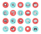 Data search flat line icons set. Magnify glass, find people, image zoom, database exploration, analysis vector illustrations. Thin signs for web engine