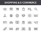 Set of 24 E-commerce and shopping web icons in line style. Mobile Shop, Digital marketing, Bank Card, Gifts. Vector illustration.
