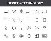 Set of 24 Device and technology web icons in line style. Computer monitor, smartphone, tablet and laptop. Vector illustration.