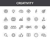 Set of 24 Creativity and Idea web icons in line style. Creativity, Finding solution, Brainstorming, Creative thinking, Brain. Vector illustration.