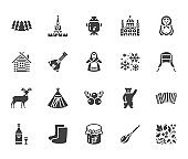 Russia flat glyph icons set. Russian doll, ornament, Moscow Kremlin, samovar, deer, bear, accordion, vodka vector illustrations. Signs for travel agency Solid silhouette pixel perfect 64x64