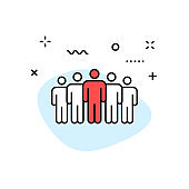 Teamwork web icons in line style. Team Work, people, support, business. Vector illustration.