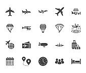 Aircraft flat glyph icons set. Airplane, helicopter, air taxi, skydiving, balloon, aero tube, paragliding vector illustration. Signs for plane tickets store. Solid silhouette pixel perfect 64x64