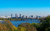 Kyiv, Ukraine - October 11, 2018: Europe city capital with river and bridge view panorama. High resolution detailed photo