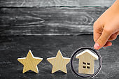 Two wooden stars and a house. Two star hotel or restaurant. Review of the critic. Quality of service and level of service. Rating of houses and private property. Evaluation of critics and visitors