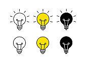 Bright idea icon set. Bulb icon. Brainstorming. Creativity. Idea. Vector illustration.