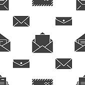 Seamless pattern with envelopes flat glyph icons. Mail background, message, open envelope with letter, email vector illustrations. Black white signs for mailing list, post office