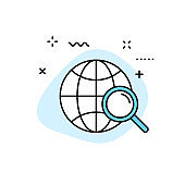 Search web icons in line style. SEO analytics, Digital marketing data analysis, Employee Management. Vector illustration.