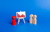 Red figurine of a man holds a presentation. Negative trend chart. Falling sales and profits, rising costs and losses. Bad times for business. information market analysis. Rogue, illegal scheme.