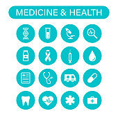 Set of 16 Medical and Health web icons in line style. Medicine and Health Care, RX, infographic. Vector illustration.