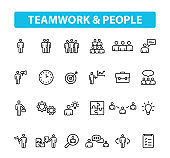 Set of 24 Teamwork web icons in line style. Team Work, people, support, business. Vector illustration.