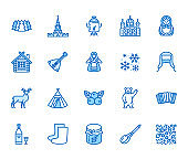 Russia flat line icons set. Russian doll, ornament, Moscow Kremlin, samovar, deer, bear, accordion, vodka vector illustrations. Thin signs for travel agency. Pixel perfect 64x64 Editable Strokes