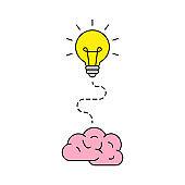Bright idea icon. Bulb icon. Brainstorming. Creativity. Idea. Vector illustration.