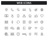 Set of Web icons in line style. Big collection of web and mobile icon. Chat, support, message, phone, www, reffer, heart, like mail. Vector illustration.