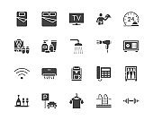 Hotel room facilities flat glyph icons set. Double bed, reception, room service, bathrobe, slippers, safe, minibar vector illustrations. Black sign for motel. Silhouette pictogram pixel perfect 64x64