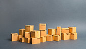 Many cardboard boxes. products, goods, Warehouse, stock. commerce and retail. Freight shipping, deliver. sales of goods and services. E-commerce, sale of goods through online trading platform.