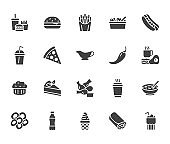 Fast food flat line glyph set. Burger, combo lunch, french fries, hot dog, sauce, salad, soup, pizza vector illustrations. Signs for restaurant menu. Solid silhouette pixel perfect 64x64