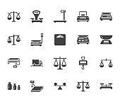 Balance flat glyph icons set. Weight measurement tools, diet scales, trade, electronic, industrial scale calibration vector illustrations. Sign justice concept. Solid silhouette pixel perfect 64x64