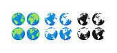 Big collection Earth globes. Black and Color Globes. Globe and Earth icon set. World map. Planet. Vector illustration.