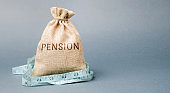 Money bag with the word Pension and tape measure. Fall / reduction pension payments. Retirement. Financing retirees. Reduction of the pension fund. The low size of pensions. Poverty. Lack of money