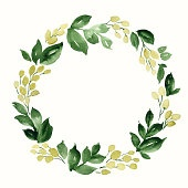 Watercolor wreath of leaves and berries. Hand painted floral composition