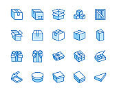 Box flat line icon set. Carton, wood boxes, product package, gift vector illustrations. Simple outline signs for delivery service. Pixel perfect 64x64. Editable Strokes