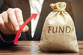 Money bag with the word Fund and up arrow. The concept of increasing the payroll. Investing in securities investors. Growing market value. Wealth, stability, safe investment. Financial resources