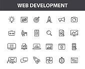 Set of 24 Web development web icons in line style. Marketing, analytics, e-commerce, digital, management, seo. Vector illustration.
