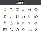Set of 24 Media web icons in line style. Social, networks, feedback, communication, marketing, thumb up. Vector illustration.
