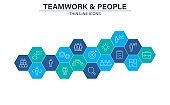 Set of Teamwork web icons in line style. Team Work, people, support, business. Vector illustration.