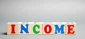 Wooden blocks with the word Income. Business and finance concept. Budget, revenue, salary.