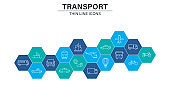 Set of Transport web icons in line style. Train, Airplane, car, bus, helicopter, bike. Vector illustration.
