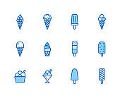 Ice cream flat line icons set. Waffle cone, ice lolly, frozen juice, popsicle, sorbet in bowl vector illustrations. Thin signs for dessert menu. Pixel perfect 64x64. Editable Strokes