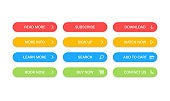 Big collection buttons Read More, learn more, download, subscribe, buy now, sign up, search, conatact us. Different colorful button set. Web icons. Vector illustration.