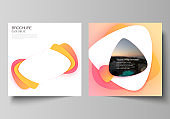 The minimal vector illustration layout of two square format covers design templates for brochure, flyer, magazine. Yellow color gradient abstract dynamic shapes, colorful geometric template design.