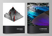 Vector layout of A4 format cover mockups design templates for brochure, magazine, flyer, annual report. Big data. Dynamic geometric background. Cubes pattern design, motion effect. 3d technology style
