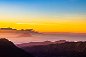 Sunrise at Mount Bromo volcano, in East Java, Indonesia.