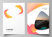 Vector layout of A4 format modern cover mockups design templates for brochure, magazine, flyer, booklet, report. Yellow color gradient abstract dynamic shapes, colorful geometric template design.