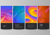 The minimalistic vector illustration of the editable layout of flyer, banner design templates. Futuristic technology design, colorful backgrounds with fluid gradient shapes composition.